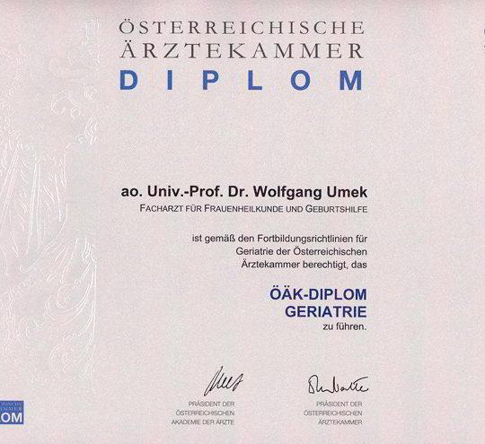 Dr. Wolfgang Umek Diplom Geriatrie