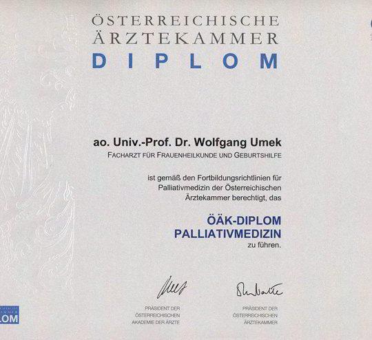 Dr. Wolfgang Umek Diplom Palliativmedizin