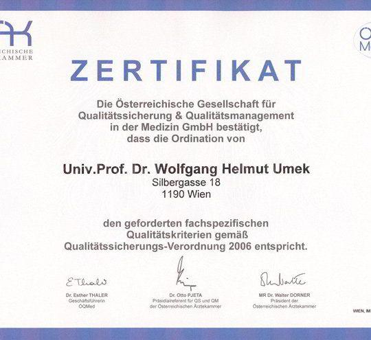 Dr. Wolfgang Umek Zertifikat