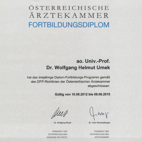 Dr. Wolfgang Umek Fortbildungsdiplom